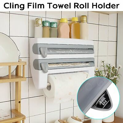 £7.89 • Buy 4 In 1 Kitchen Roll Dispenser Cling Film Tin Foil Wall Mounted Towel Holder Rack