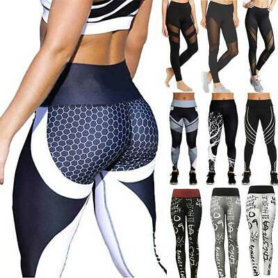Womens Yoga Pants Gym Leggings Ladies Sportswear Gym Running Fitness Trousers • 12.58£