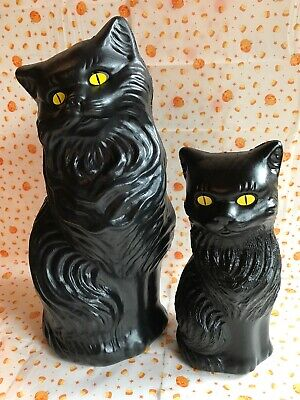 $22.99 • Buy Blow Mold Halloween Black Cats Decoration Yellow Eyes Union Products  Pair