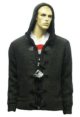 Lambretta Knitted Duffle Sherpa Hoodie Toggles Hooded Jacket Knit Grey Mens • 39.99£