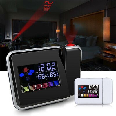 Projection Digital Weather LCD Snooze Alarm Clock Color W/ LED Display Back UK • 8.99£