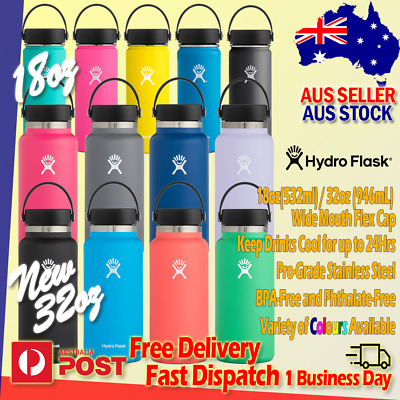AU17.95 • Buy NEW Hydro Flask 32oz 18oz Wide Mouth Flex Cap Insulated Stainless Water Bottle