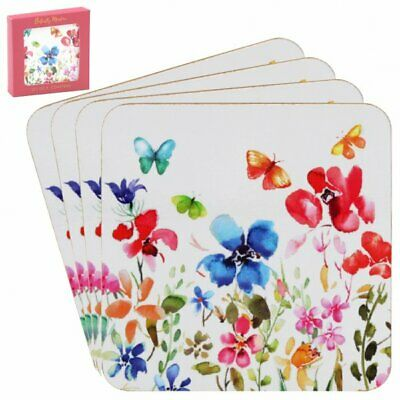 £4.99 • Buy Butterfly Meadow Set Set Of 4 Coasters Flowers And Butterflies Print
