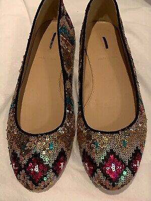 $39.99 • Buy J CREW 8 Sequined BALLET FLATS NEW Made In Italy