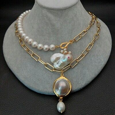 $33.25 • Buy 21  2 Rows Cultured Pearl Chain Necklace White Keshi Pearl Mabe Pearl Pendant