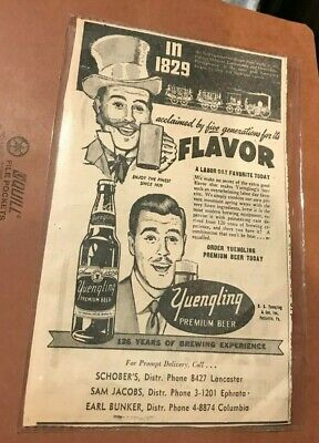 $15 • Buy Vintage Yuengling Beer - Brewing Co Newspaper Ad From 1954 Pottsville Pa