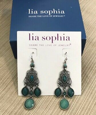 $ CDN25.31 • Buy New Lia Sophia  St. Tropez  Silver Chandelier Earrings W/Blue Green Resin Stones