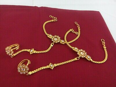 £17.99 • Buy Indian Jewelry Hath Punja Bollywood Ethnic Gold Plated Bracelet With Rings