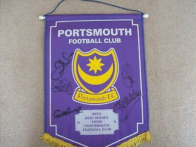Vintage Portsmouth Fc 1990's Pennant Signed By 5 Players Inc Steve Claridge • 21.99£