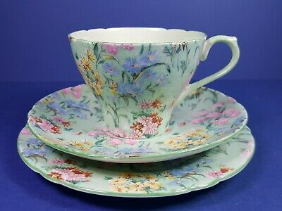 Vintage Shelley Melody Chintz Design Trio - Cup Saucer Plate • 34.50£