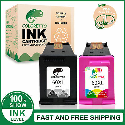 $33.32 • Buy 2pk 60XL Printer Ink Cartridge Combo CC641W CC644W For HP 60 XL Deskjet  D2500
