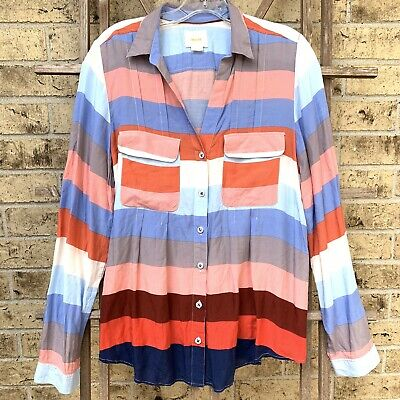 $ CDN33.80 • Buy Anthropologie Maeve Button Down Striped Colorful Top Size 12 Large