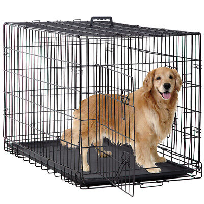 $64.99 • Buy New Dog Crate Cage Extra Folding Large Double Door Pet Crate W/Divider&Tray,48