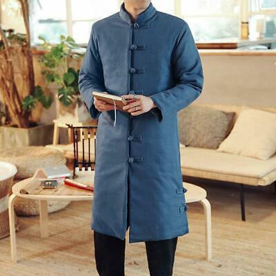 $90.12 • Buy Chinese Style Mens Boys Linen Coat Robe Long Cotton Blend Jackets Stand Collar