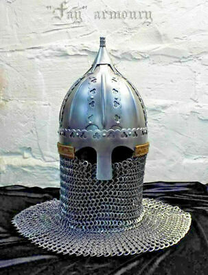 16GA Steel Early Medieval Norman Viking Gnezdovo Type Helmet With Chainmail • 249£