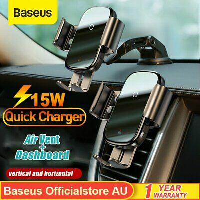 AU41.41 • Buy Baseus15W Qi Wireless Fast Charger Automatic Car Mount Holder For IPhone Samsung