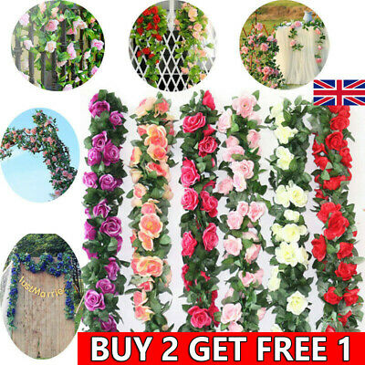 £3.99 • Buy 8Ft Artificial Rose Garland Silk Flower Vine Ivy Wedding Garden String Decor