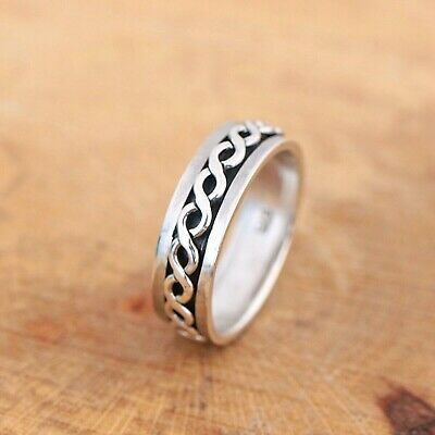 Mens Womens Plain 925 Sterling Silver Celtic Spinning Worry Band Ring 7mm • 17.50£