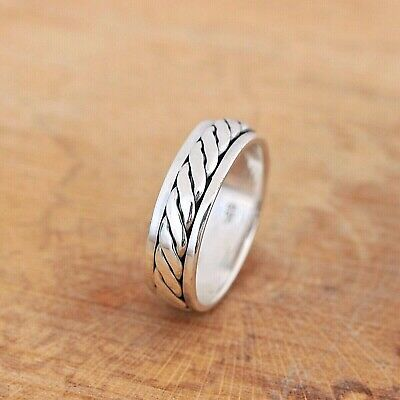 Mens Womens Plain 925 Sterling Silver Celtic Spinning Worry Band Ring 7mm N2 • 19.25£