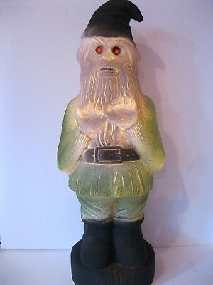 $29 • Buy Blow Mold Halloween Zombie Gnome Red Eyes Lighted Union Products