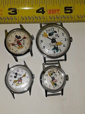$ CDN21.82 • Buy Lot 2 Vintage Mickey Mouse Character Wristwatches 2 Minnie Mouse Watch Disney