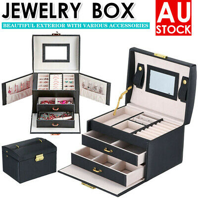 AU22.89 • Buy Large Jewellery Box Rings Necklace Watches Earring Storage Organiser Travel Case