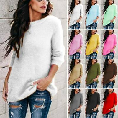 AU23.49 • Buy Womens Fleece Fluffy Sweater Long Sleeve Loose Pullover Tops Tunic Blouse Coat