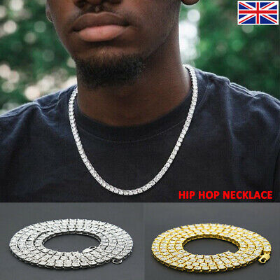 Mens Iced Out Diamond 1 Raw Lab Necklace Fashion Tennis Link Chain Jewelry • 6.69£