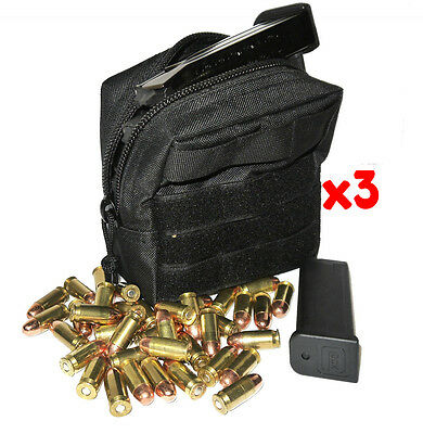 $ CDN35.90 • Buy (3) 9mm Ammo Modular Molle Utility Pouches Front Hook Loop Strap
