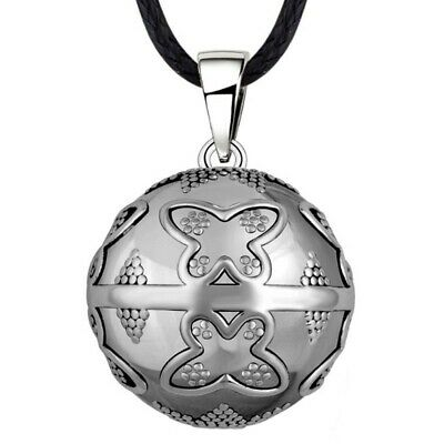 GR0019 Necklace Pregnancy Bola Mexican Motif Butterfly Silver Pendant + Cord • 23.99£