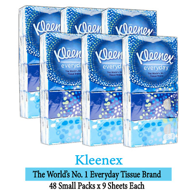 AU23.98 • Buy 48 Small Packs Kleenex Everyday Facial Pocket Tissues 9 Sheets Each Soft