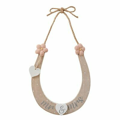 Mr And Mrs Good Luck Horseshoe Wedding Day Decoration - Plaque Sign Charm • 7.99£