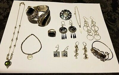 $ CDN225 • Buy 925 Sterling Jewelry Lot FWP/Onyx/Abalone/No Scrap Or Repair