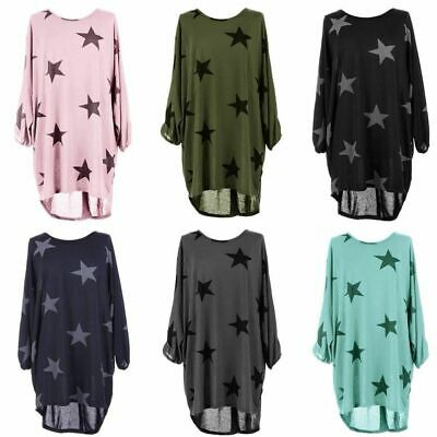 Womens Star Print Lagenlook Batwing Top Fine Knitted Tunic Loose Baggy Size16-24 • 9.99£