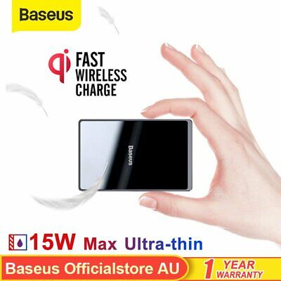 AU25.19 • Buy Baseus 15W Qi Wireless Charger Ultra-thin FAST Charging Pad For IPhone Samsung