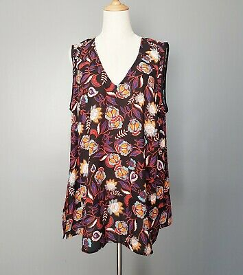 AU24.90 • Buy Basque Women's Sleeveless Floral Blouse Top Plus Size 16 Work Office Party