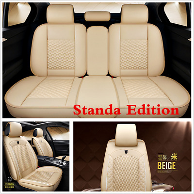 $ CDN163.42 • Buy Car Seat Cover PU Leather 5-Sit Front+Rear Mat Universal All Season+ Accessories