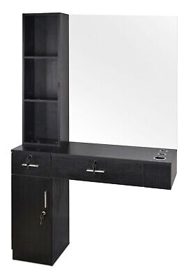 $265.99 • Buy Barber Locking Wall Mount Mirrors Hair Styling Station Desk Salon Drawer Spa