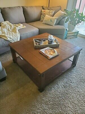 $175 • Buy 40x40x19 Dark Brown Wooden Square Coffee Table Light Wear And Tear(see Pictures)