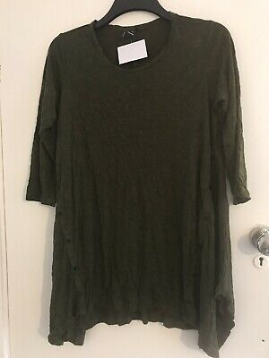 Yong Kim Crinkle Tunic With Asymmetric Buttons Moss Green Size 10 • 21.99£
