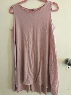 Yong Kim Sleeveless Tunic Top With Godet Insert Pale Pink Size 10 • 21.99£