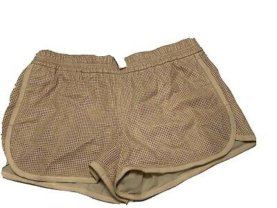 $59.99 • Buy J Crew Collection Womens Elastic Waist Perforated Leather Shorts Beige 12 NWT.