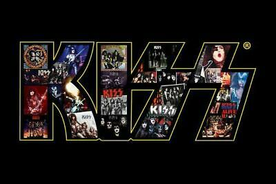 Kiss In Concert Photo Logo Poster Gene Simmons Ace Frehley Kiss Live Peter Criss • 7.33£
