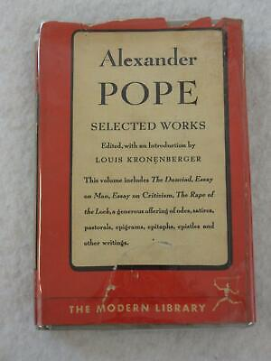 $19.95 • Buy Alexander Pope SELECTED WORKS 1st Modern Library 1948 #257