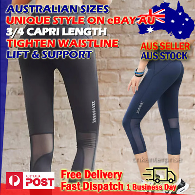 AU16.88 • Buy Womens Yoga Pants 3/4 High Waist Compression Slimming Leggings Fitness Everyday