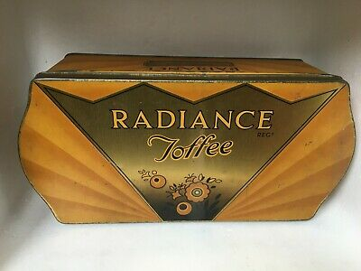 Large Fab Art Deco Shaped Sweet Tin Radiance Toffee Hazel-nut Doncaster England • 15£