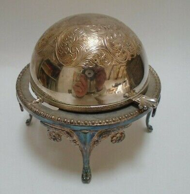 Silver Plate Domed Butter Dish With Glass Insert Antique Rare • 100£