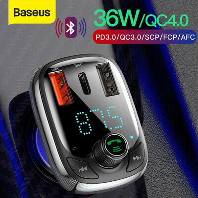 AU26.59 • Buy Baseus Bluetooth 5.0 FM Transmitter Car Kit Adapter MP3 Player Dual USB Charger