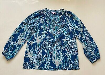 $45 • Buy LILLY PULITZER ELSA TOP INDIGO GOOD REEF SIZE Large L TAG INCLUDED