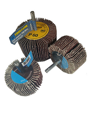 Abrasive Flap Wheel Sanding Sets 60-80mm Diameter Drill 6mm Shank Grit 40,60,80 • 7.50£